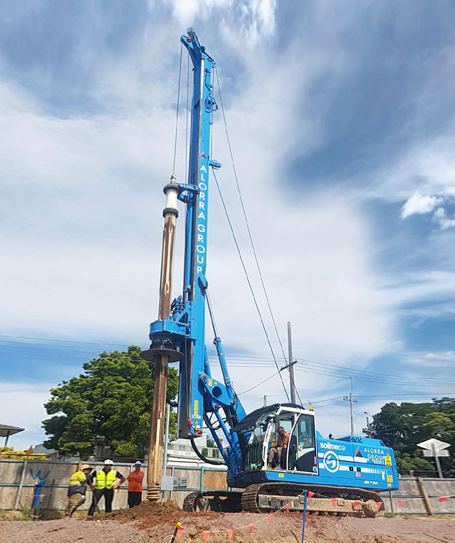 alorra group, alorra piling contracting, piling contractor Sydney, piling contractors Sydney, Soilmec piling rig